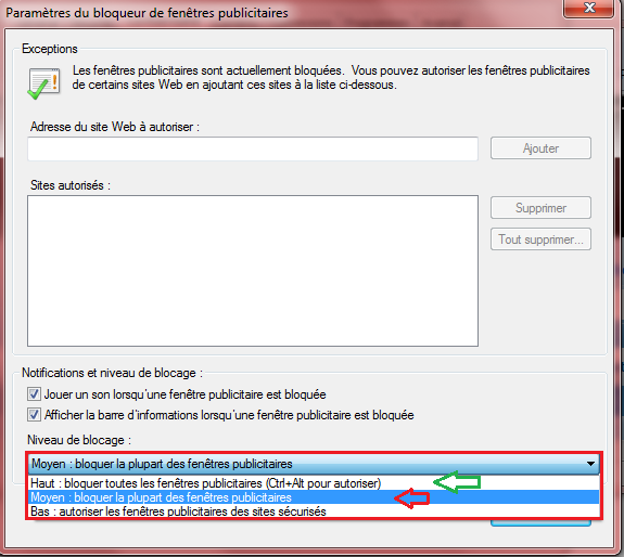 Mieux bloquer les popup internet explorer 8 for Bloquer fenetre pop up chrome