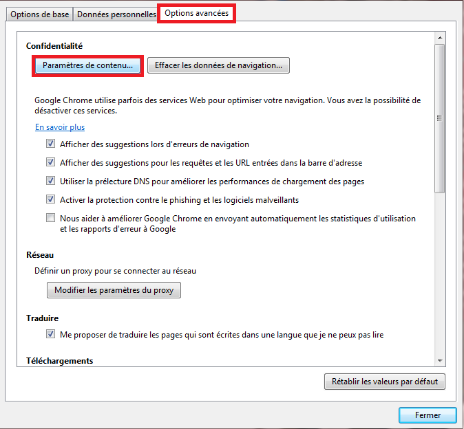 bloquer les pop up google chrome