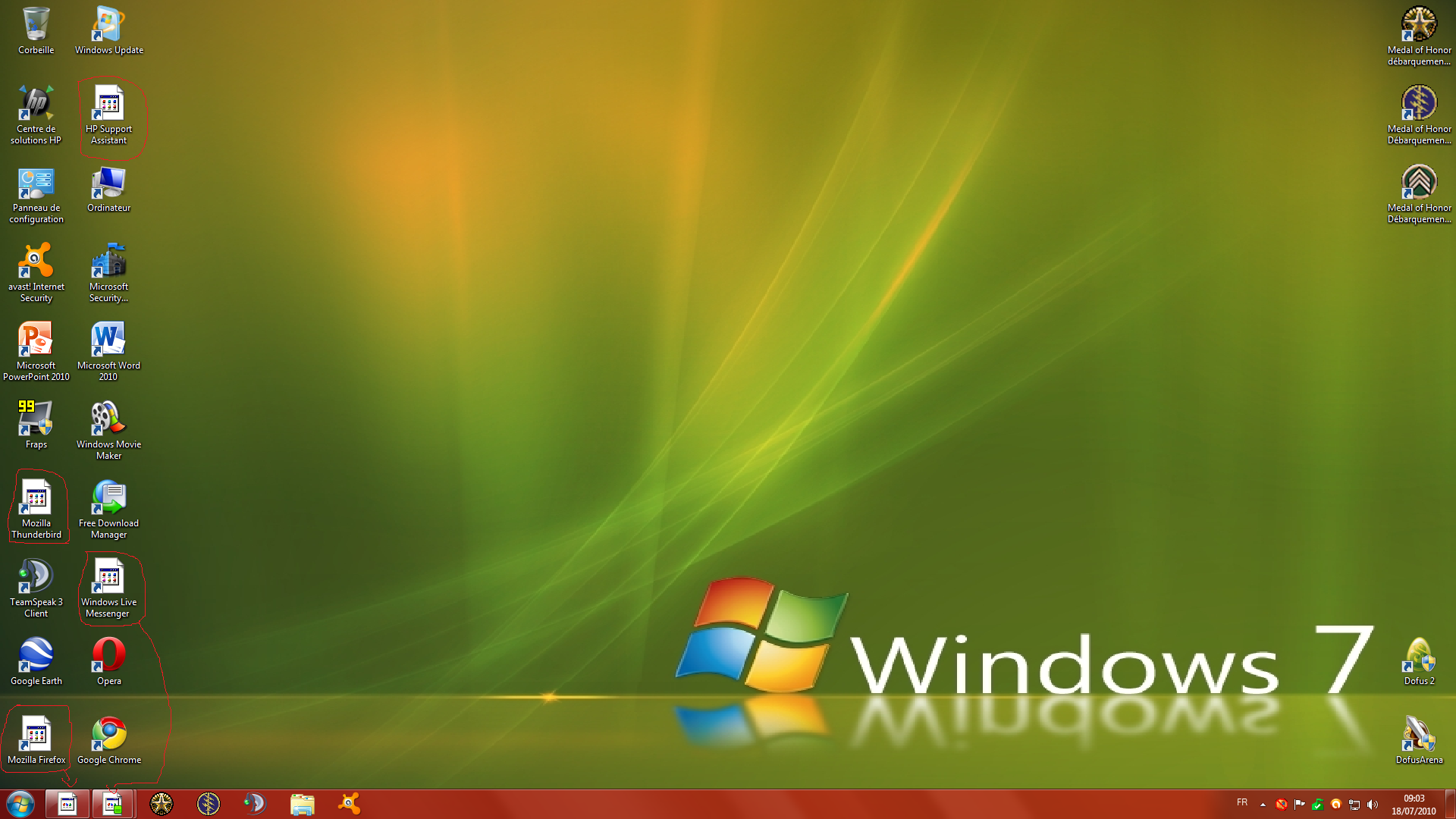 Windows 7 icone sur le bureau r solu windows 7 - Ordinateur de bureau windows 7 pro ...