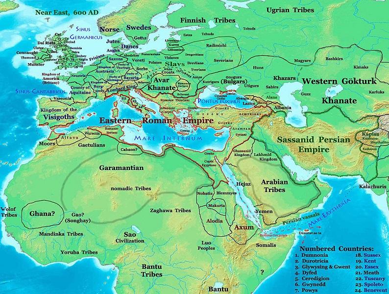 Carte du Monde connu en Europe en 600 1454545955019819000